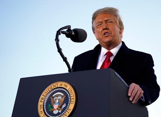 טראמפ בנאום הפרידה שלו / צילום: Associated Press, Manuel Balce Ceneta