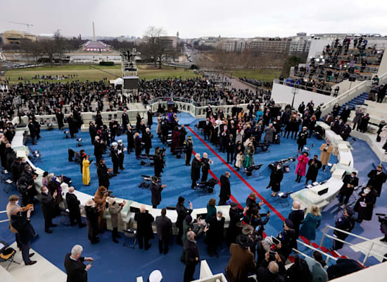 מתחם ההשבעה של ג'ו ביידן / צילום: Associated Press, Andrew Harnik