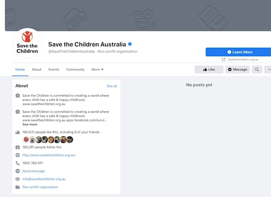 עמוד פייסבוק חסום (ללא פוסטים) של ארגון הומניטרי אוסטרלי / צילום: צילום מסך