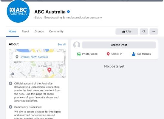 עמוד פייסבוק חסום (ללא פוסטים) של ABC אוסטרלי / צילום: צילום מסך
