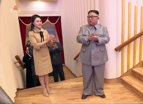 קים ג'ונג און ואישתו רי סול ג'ו בפתיחת שנת הירח החדשה / צילום: Reuters, Yonhap News Agency