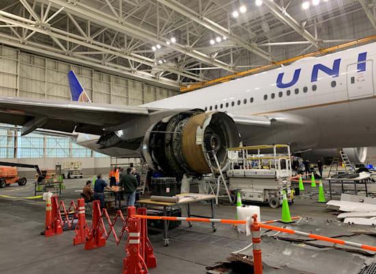 הנזק שנגרם למנוע של המטוס בטיסה 328 / צילום: Reuters, National Transportation Safety Board