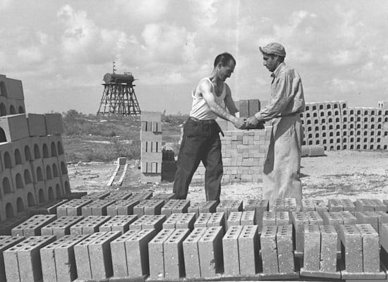 """בנייה בדרום הארץ ב־1950 / צילום: לע""""מ - BRAUNER TEDDY"""