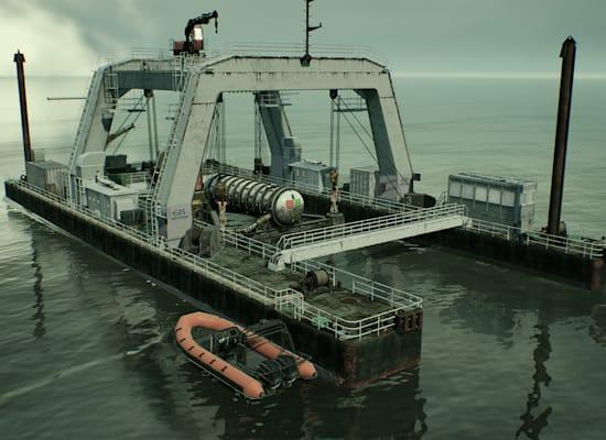 תהליך של הנחתת דאטה סנטר באמצעות אסדה לקרקעית הים / צילום: מיקרוסופט