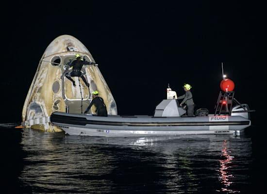 """חללית דרגון של SpaceX ובה ארבעה אסטרונאוטים של נאס""""א, נחתה בהצלחה השבוע / צילום: Associated Press, Bill Ingalls"""