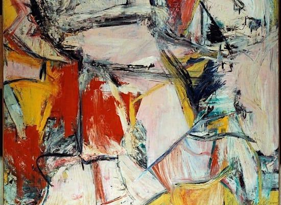 """""""אינטרצ'יינג'"""" של וילם דה קונינג. הציור נמכר ב־4,000 דולר ב־1955, וב־300 מיליון דולר ב־2017."""