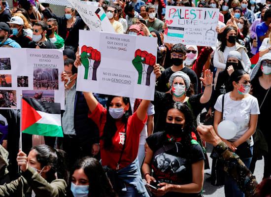 הפגנה נגד ישראל במדריד / צילום: Reuters, Juan Medina