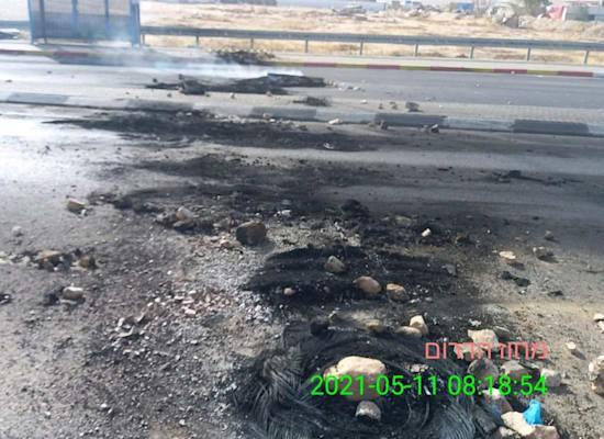 וונדליזם בכבישים במסגרת המהומות / צילום: נתיבי ישראל