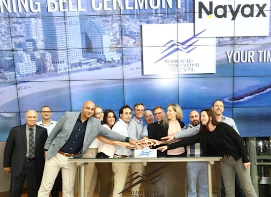 בכירי חברת נאייקס, עם איתי בן זאב, מנכ''ל הבורסה והיו''ר אמנון נויבך, פותחים את המסחר בבורסה בתל אביב צילום: סיון פרג' / צילום: סיון פרג'