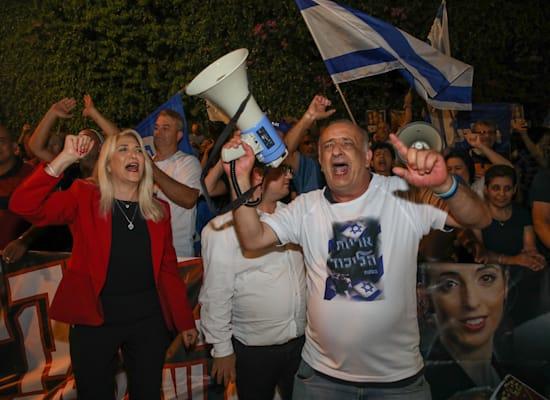 הפגנה בכפר המכביה / צילום: כדיה לוי