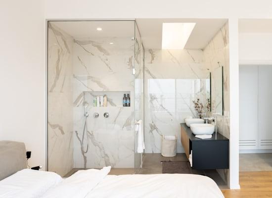 מקלחון על רקע קיר שיש / צילום: Shutterstock