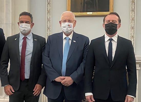 מימין: ראש ממשלת רומניה, נשיא המדינה רובי ריבלין ונשיא התאחדות התעשיינים ד״ר רון תומר / צילום: דוברות התאחדות התעשיינים