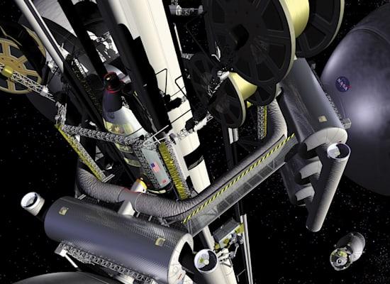 הדמיה של מעלית לירח / צילום: Reuters, NASA