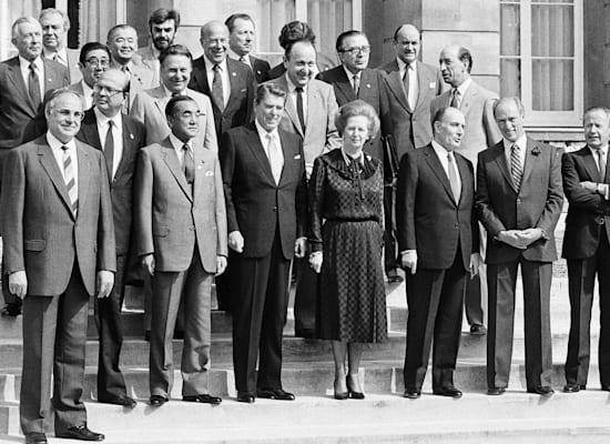 טרודו (שני מימין), תאצ'ר (באמצע) וקוהל (משמאל), בפסגה הכלכלית בלונדון, יוני 1984 / צילום: Associated Press, Udo Weitz