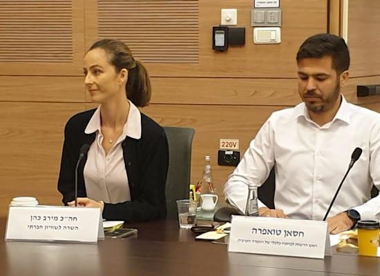 חסאן טואפרה ראש הרשות לפיתוח כלכלי ברשויות הערביות והשרה לשוויון חברתי מירב כהן / צילום: דני שם טוב, דוברות הכנסת