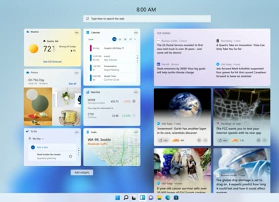 Windows Widgets / צילום: מתוך ההכרזה של מיקרוסופט