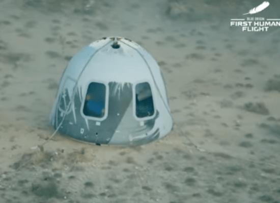תא הצוות של New Shepard לאחר הנחיתה
