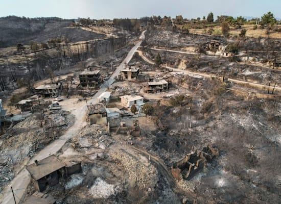 כפר, ליד העיר הטורקית מנבגט, שנהרס על ידי השריפות שמשתוללות באזור / צילום: Associated Press
