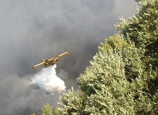 מטוס מנסה לכבה שריפת יער שסמוכה לעיר היוונית פטרס / צילום: Associated Press, Andreas Alexopoulos