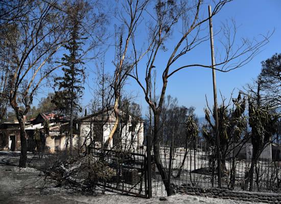 בתים שרופים בכפר שסמוך לעיר היוונית פטרס / צילום: Associated Press, ndreas Alexopoulos