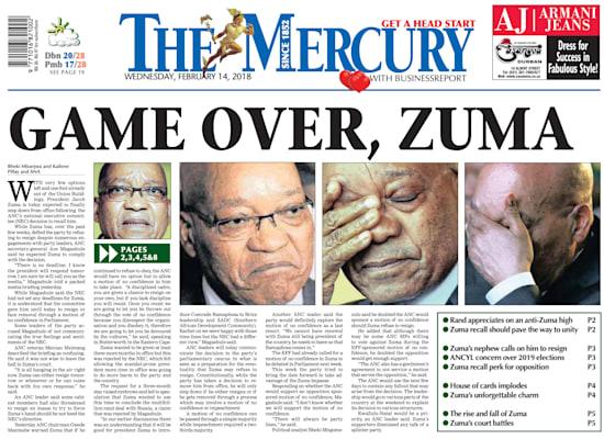 ״המשחק נגמר, זומה״, הכריז עיתון דרום אפריקאי בפברואר 2018, כאשר זומה התפטר / צילום: מתוך שער העיתון