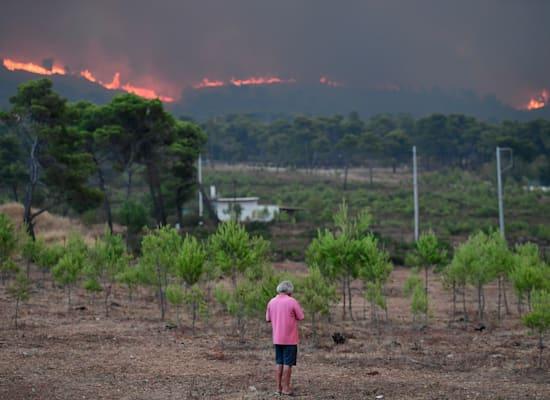 שריפות משתוללות באזור תרקומדונס, בצפון אתונה, יוון / צילום: Associated Press, Michael Varaklas