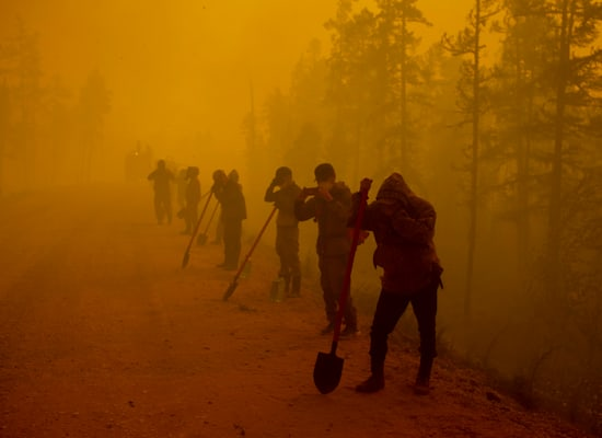 מתנדבים סמוך לשריפת יער ממערב ליקוצק שבסיביר / צילום: Associated Press, Ivan Nikiforov