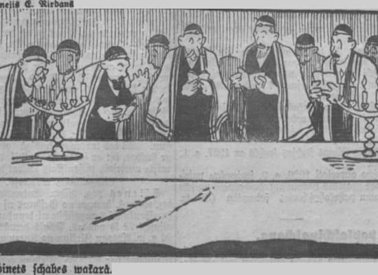 קריקטורה בעיתון לטבי אנטישמי, דצמבר 1926. ״ישיבת שבת של ממשלת נורוק״