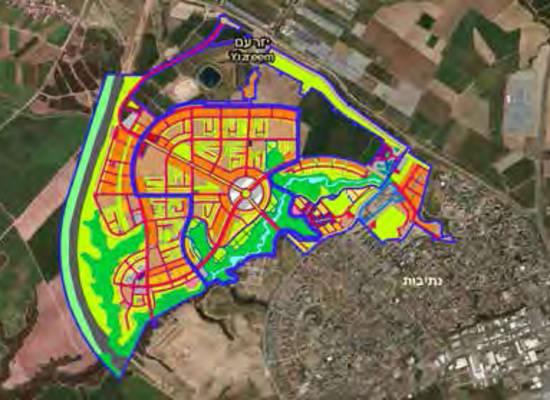 תוכנית הוותמ''ל לעיר אופקים. בנייה על  שטחים פנויים / הדמיה: החברה  להגנת הטבע