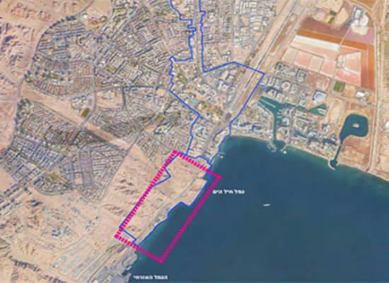 מסומן בריבוע בסיס חיל הים באילת, מלמעלה / צילום: רשות מקרקעי ישראל