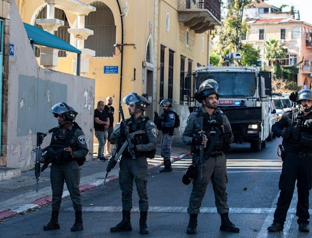 כוחות המשטרה ביפו מוקדם יותר היום / צילום: Associated Press, Heidi Levine
