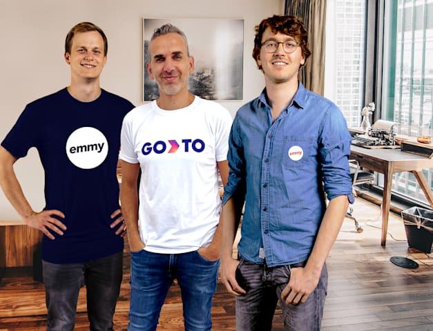 גיל לייזר עם ולריאן סלית'ר ואלכסנדר מאריץ, מנכ''לים משותפים ומייסדי emmy / צילום: GoTo Global