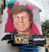 ציור קיר של קריקו בבודפשט, כמחווה לתרומתה למלחמה בקורונה / צילום: Reuters, KRISZTINA FENYO