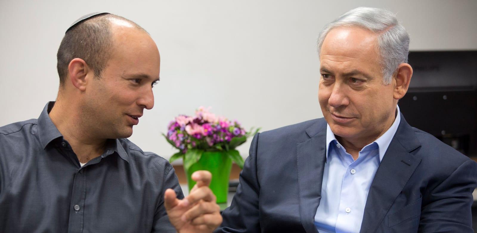 Naftali Bennett and Benjamin |Netanyahu credit: Moti Milrod, Ha'aretz