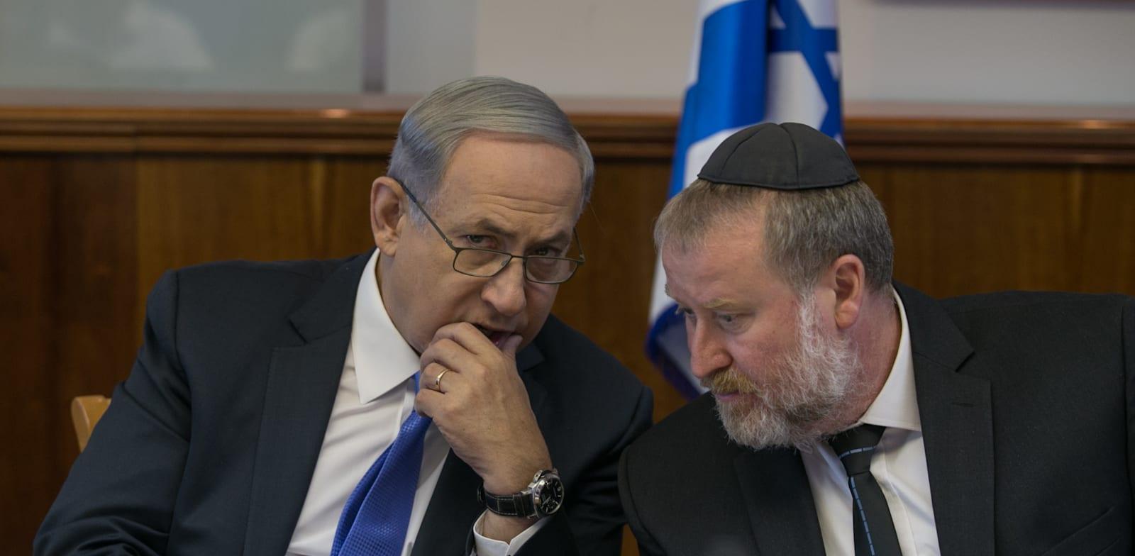 """היועמ""""ש אביחי מנדלבליט וראש הממשלה בנימין נתניהו / צילום: אוהד צויגנברג, """"ידיעות אחרונות"""""""