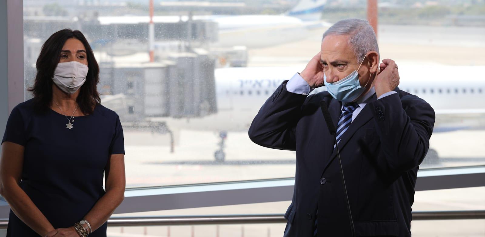 """ראש הממשלה ושרת התחבורה בנתב""""ג / צילום: אמיל סלמן-הארץ"""