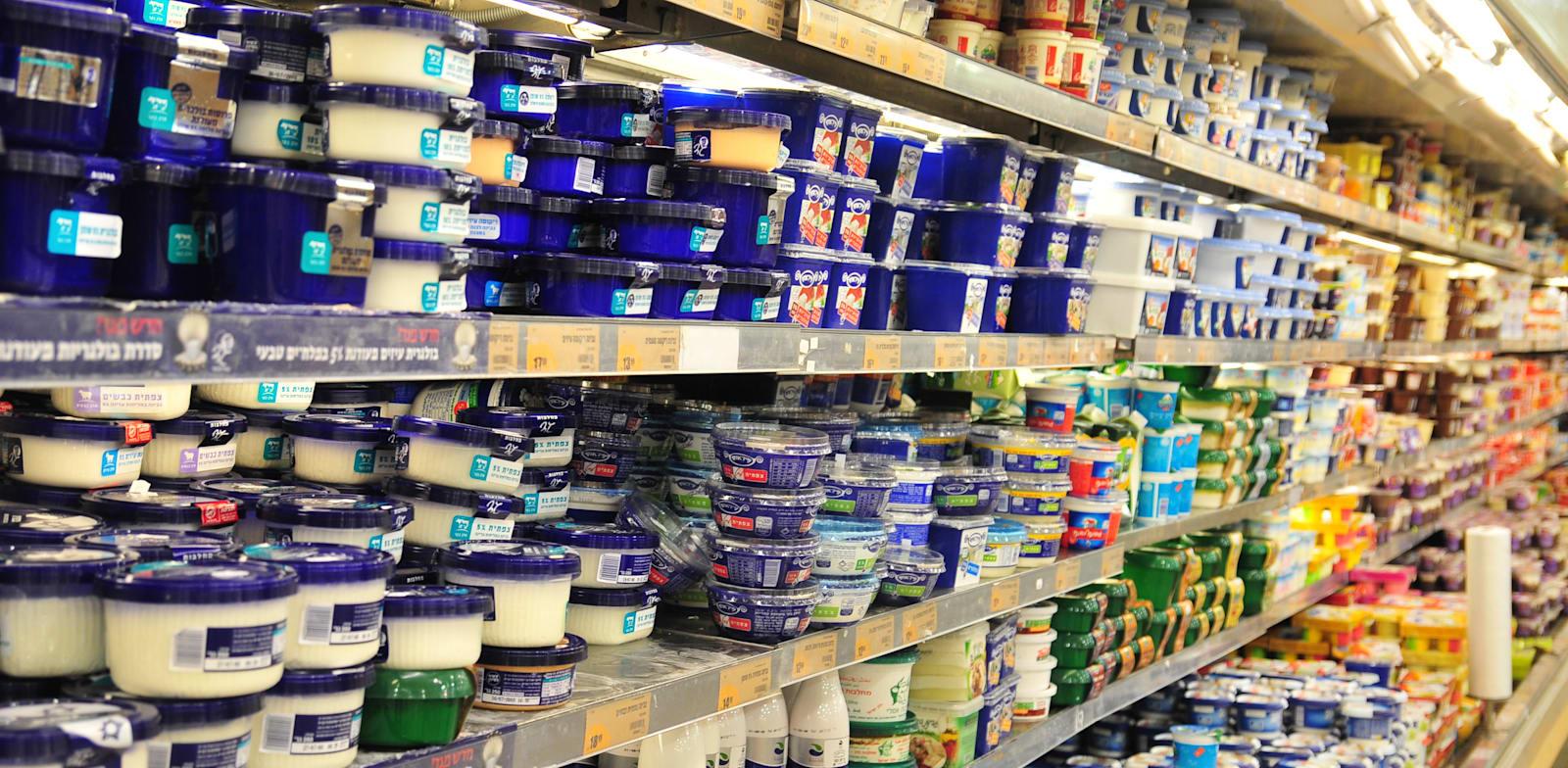 מדף מוצרי חלב בסופרמרקט. הריכוזיות בענף חוגגת / צילום: תמר מצפי