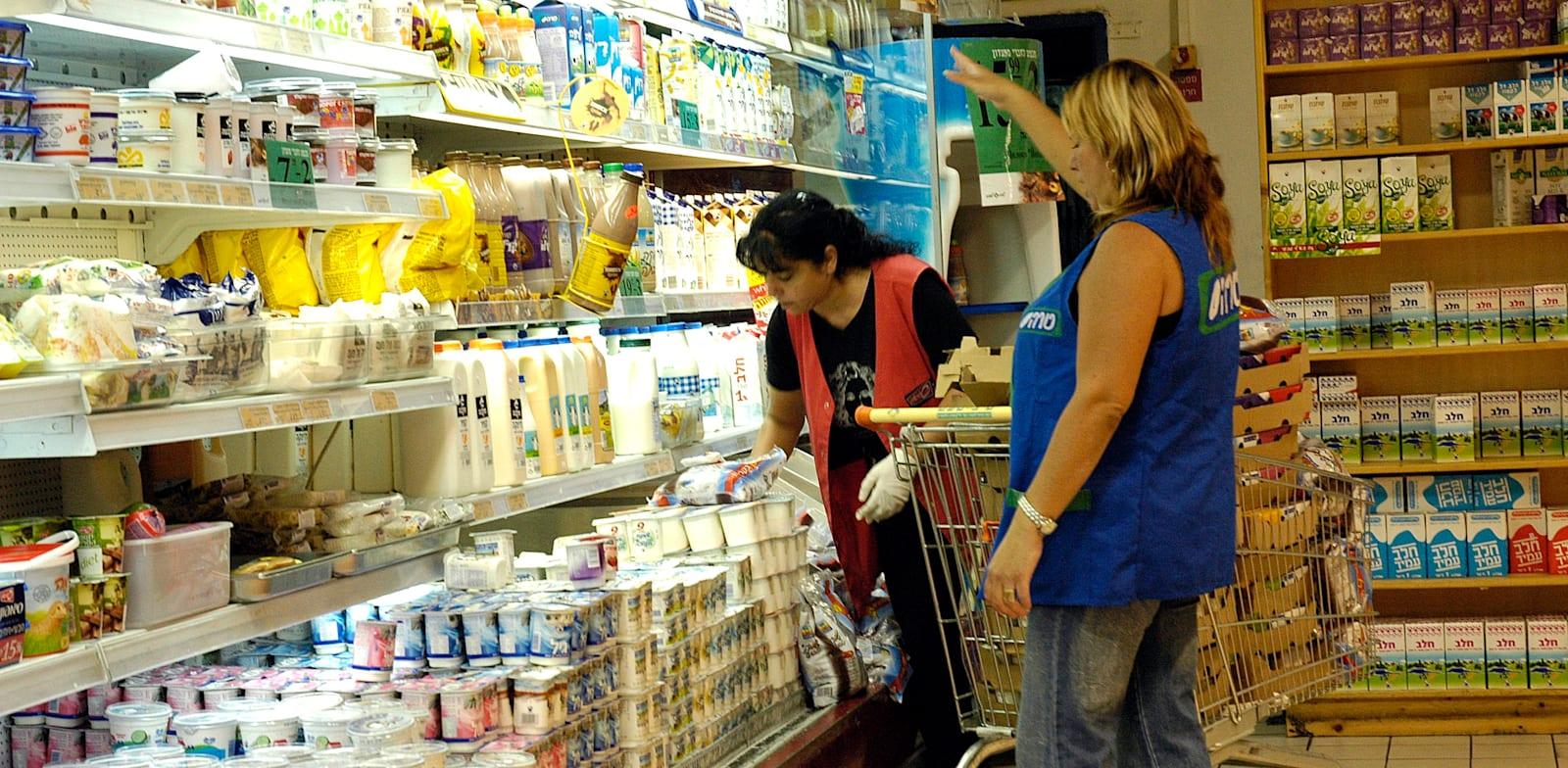 סדרניות מזון בסופרמרקט / צילום: תמר מצפי