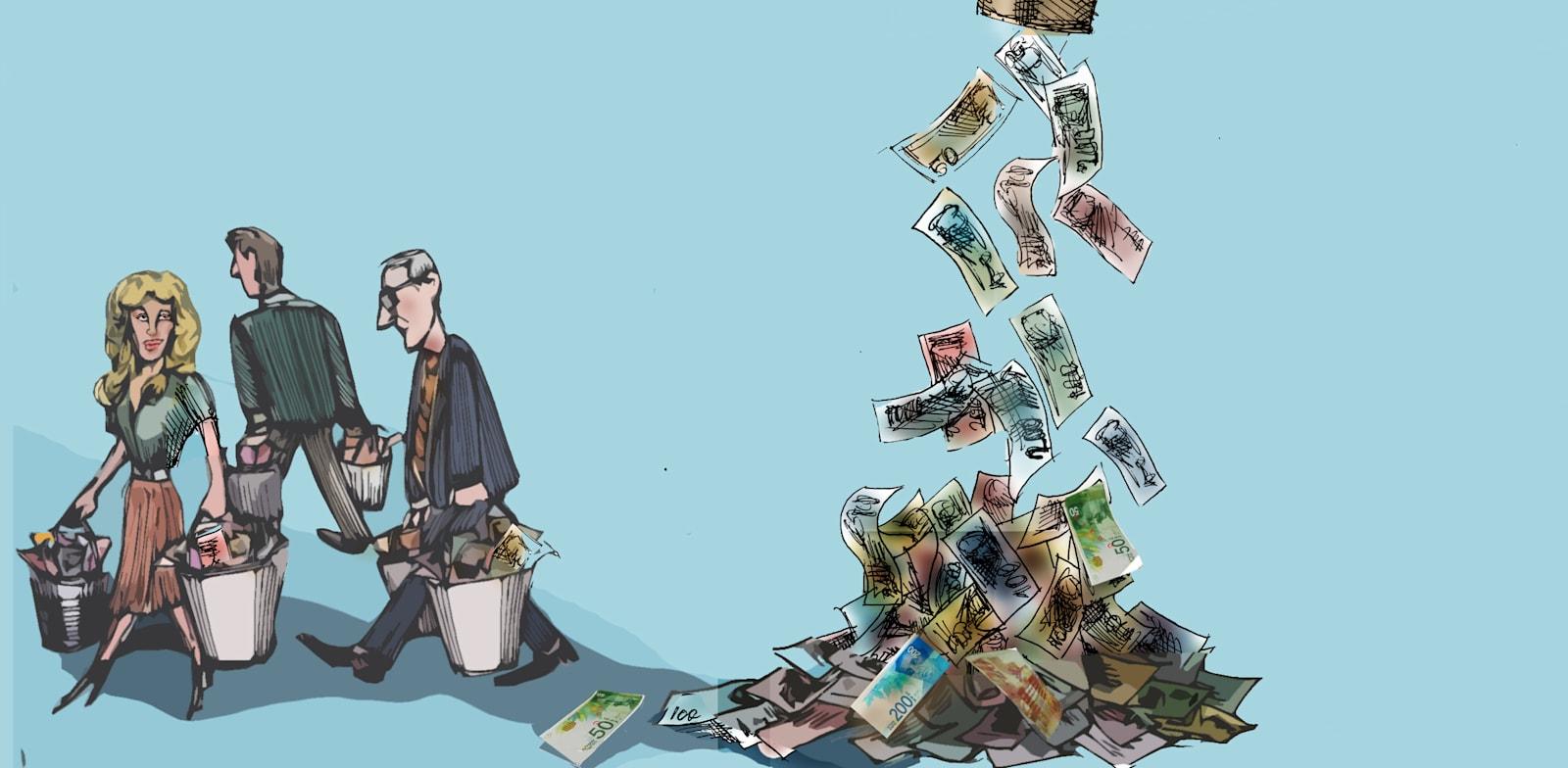 הכספים שהזרימו ממשלות בקורונה מנעו פשיטות רגל וימנעו מיתון עתידי / איור: גיל ג'יבלי