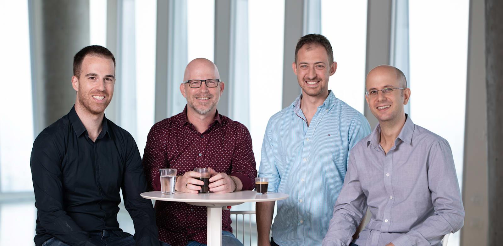 צוות החברה (מימין לשמאל): לוטן חורב, אלירון אמיר, אבי וידמן ואלברט אכטרברג / צילום: David Garb