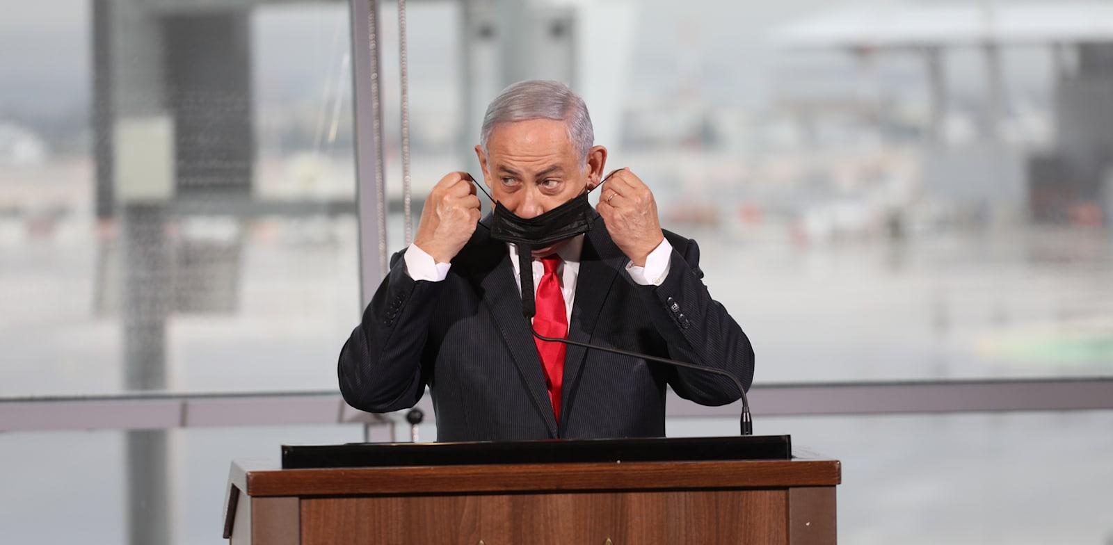 """נתניהו. מנסה לתת מענה למתקפות שיספוג במהלך קמפיין הבחירות על """"הקורונה הכלכלית"""" בישראל / צילום: אמיל סלמן-הארץ"""