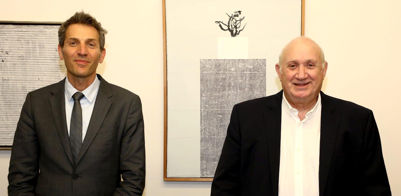 """מנכ""""ל שופרסל איציק אברכהן ומנכ""""ל דיסקונט אורי לוין / צילום: סיון פרג'"""