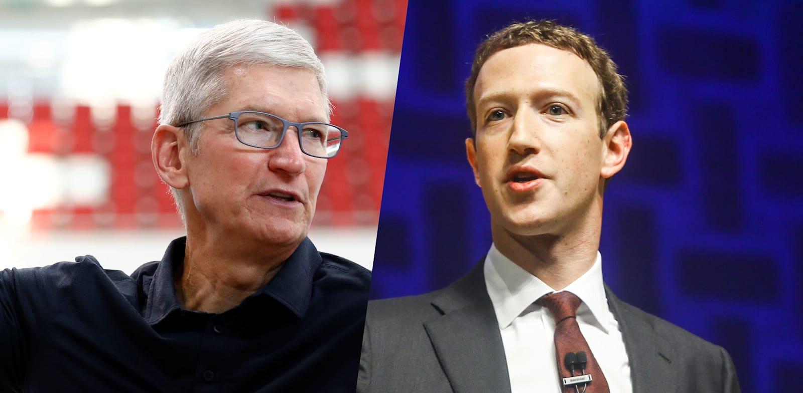 """מנכ""""ל פייסבוק מארק צוקרברג ומנכ""""ל אפל טים קוק / צילום: Reuters"""