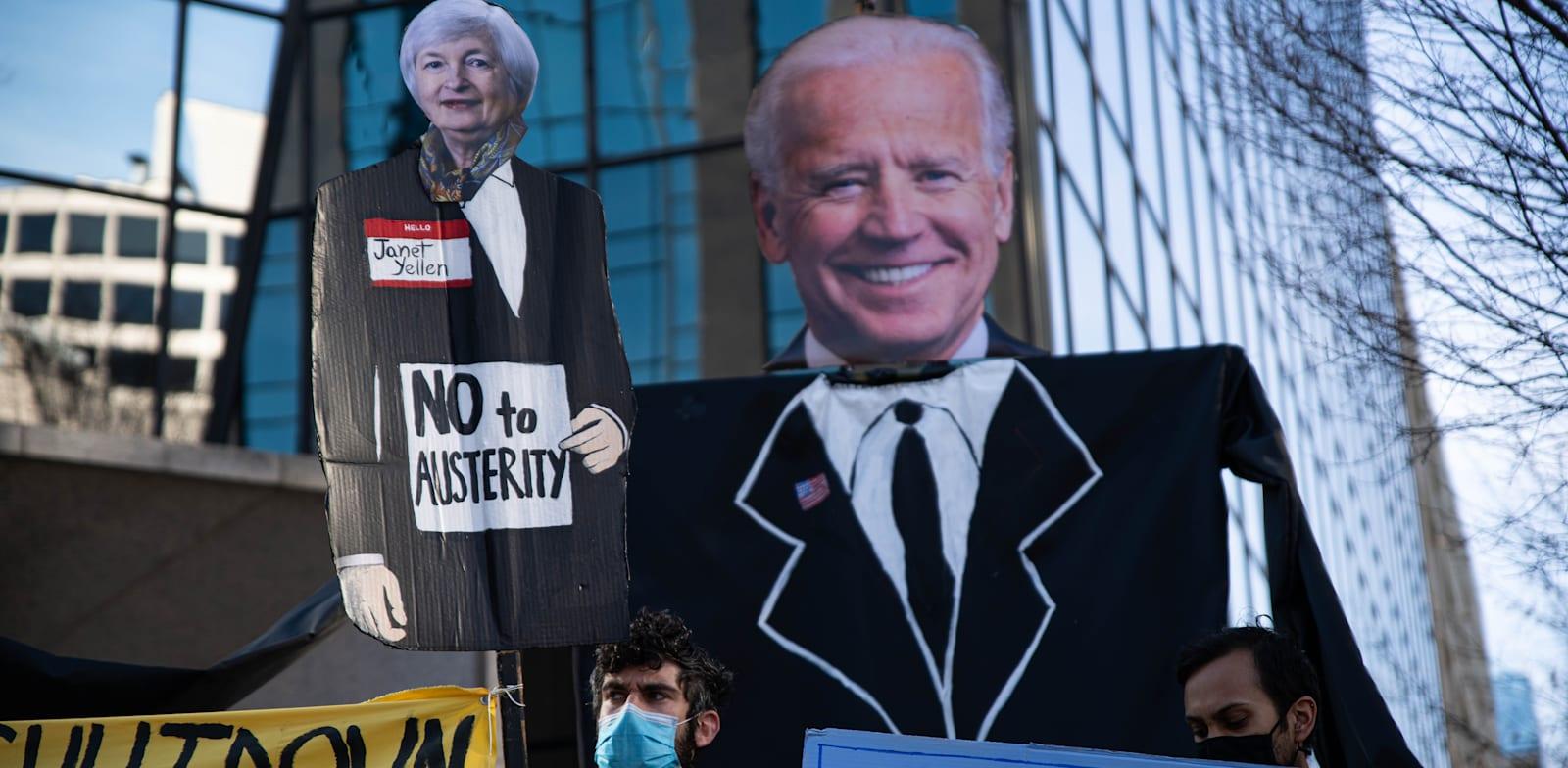 """הפגנה בוושינגטון נגד מדיניות ה""""צנע"""" בדרישה מהממשל שיעביר לאזרחים סיוע־קורונה ישיר, דצמבר / צילום: Reuters, Alejandro Alvarez"""