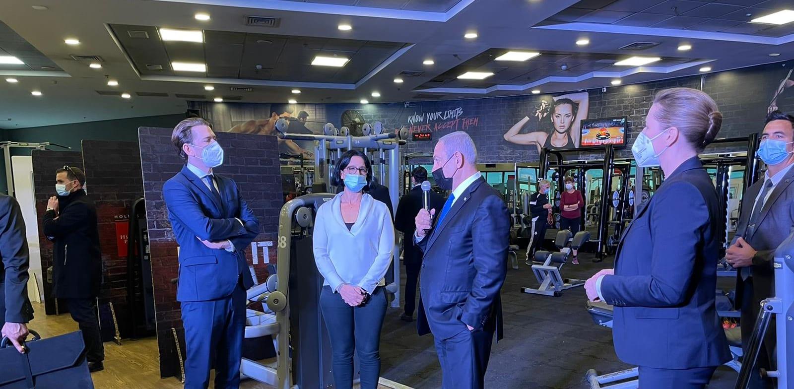 Chancellor Sebastian Kurz, Prime Minister Benjamin Netanyahu, and Prime Minister Mette Frederiksen visit a fitness club in Israel credit: Prime Minister's Office spokesperson