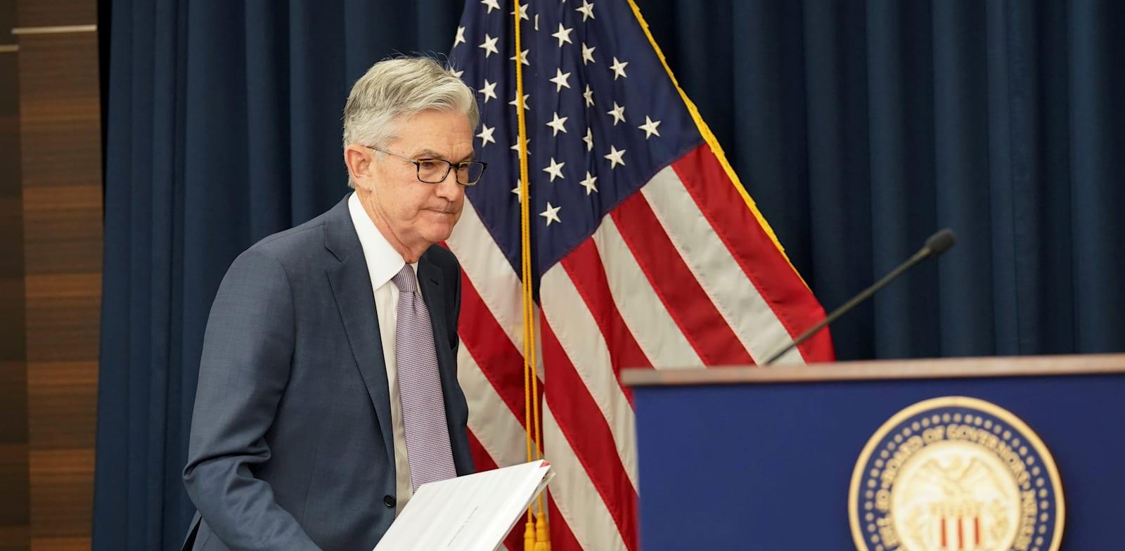 "ג'רום פאוול,  יו""ר הפדרל ריזרב / צילום: Reuters, Kevin Lamarque"
