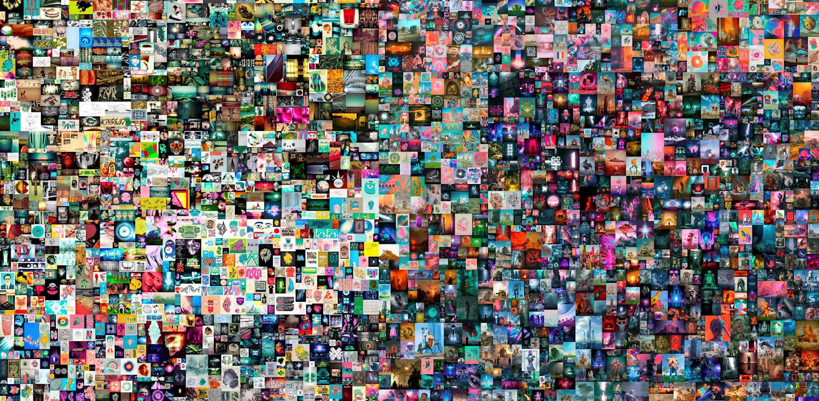 יצירה דיגטלית של האמן ביפל שנמכרה ב-69 מיליון דולר כחלק מטרנד ה-NFT / צילום: Reuters, CHRISTIE'S IMAGES LTD. 2021/BEEP