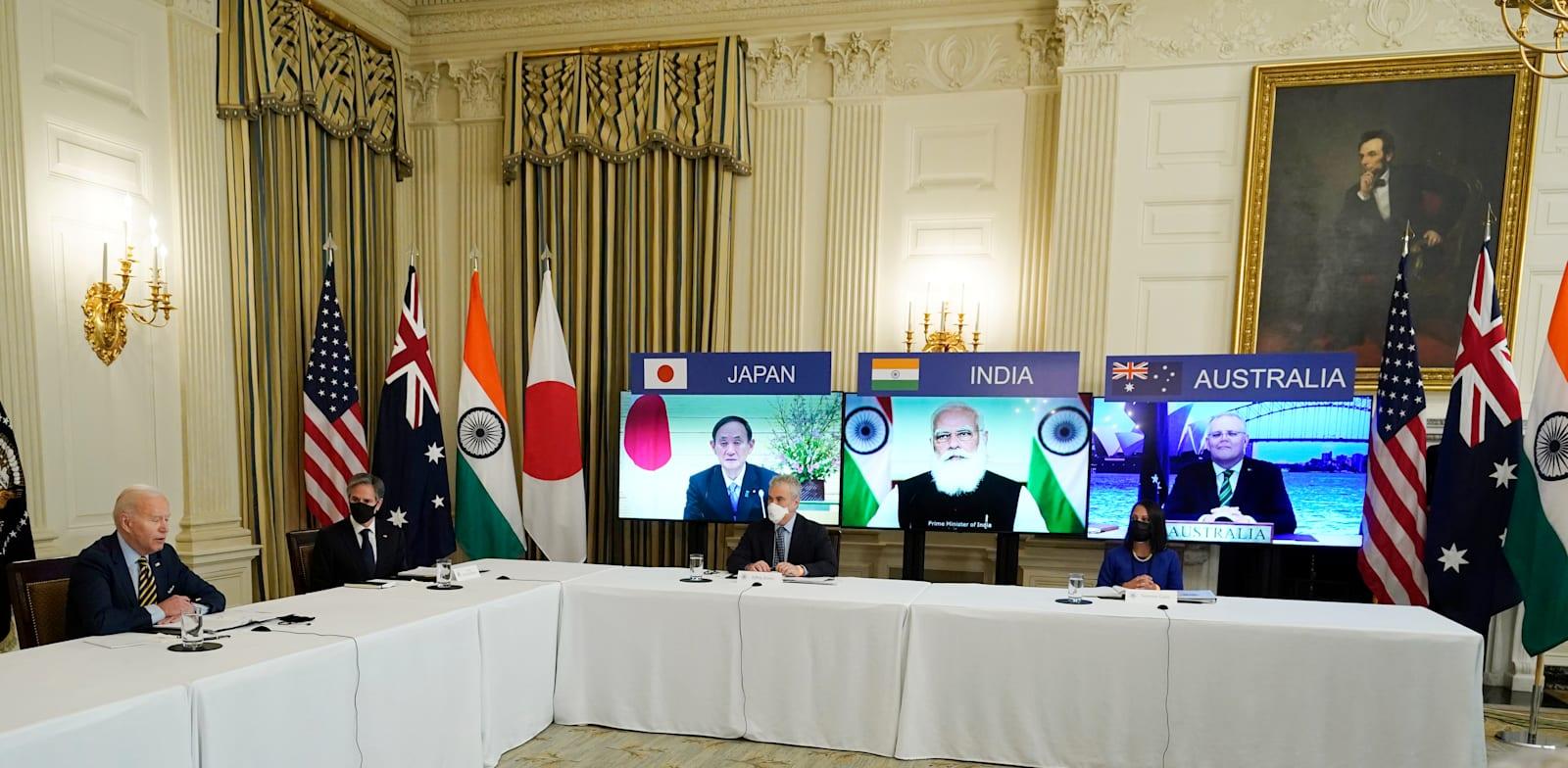 """נשיא ארה""""ב, ג'ו ביידן במפגש הווירטואלי עם רה""""מ יפן יושיהידה סוגה, רה""""מ הודו נרנדרה מודי ורה""""מ אוסטרליה, סקוט מוריסון / צילום: Associated Press, Alex Brandon"""