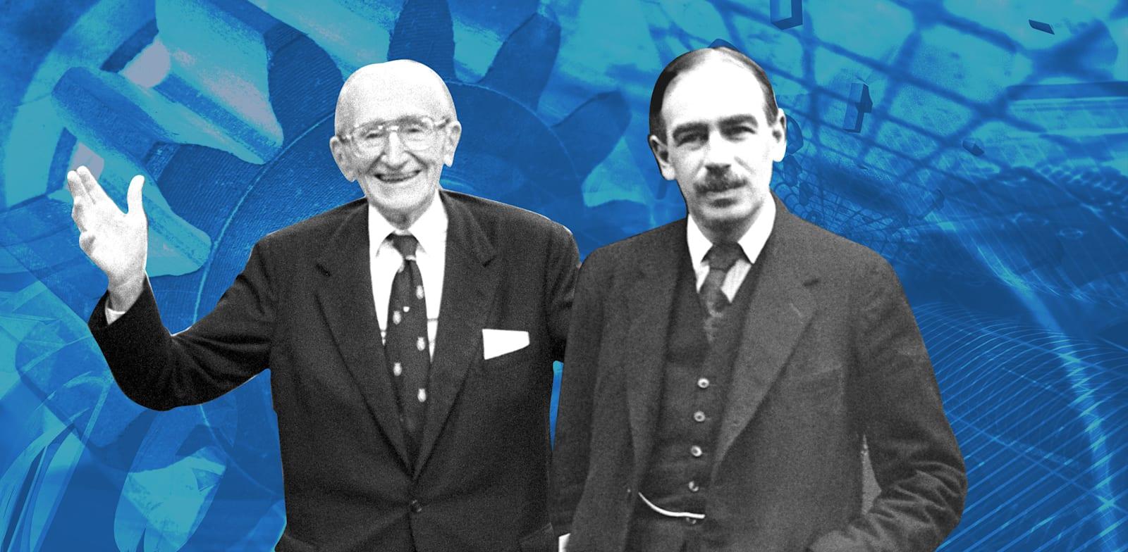 הכלכלן פרידריך האייק והכלכלן ג'ון מיינרד קיינס / צילום: Reuters