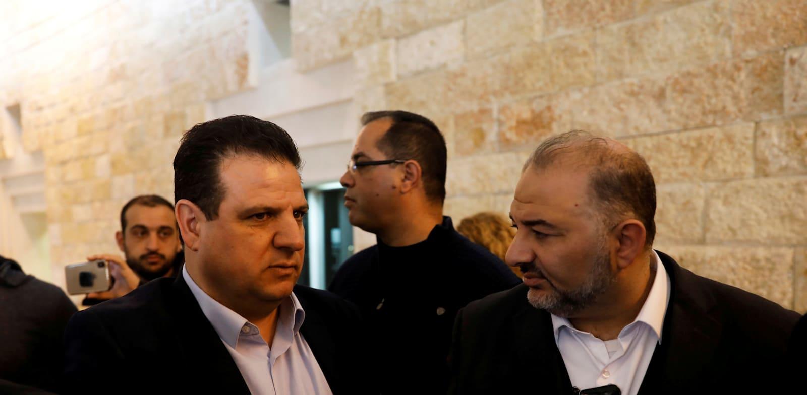 """יו""""ר רע""""ם מנסור עבאס ויו""""ר חד""""ש איימן עודה. ההגמוניה נשברה / צילום: Reuters, Ronen Zvulun"""